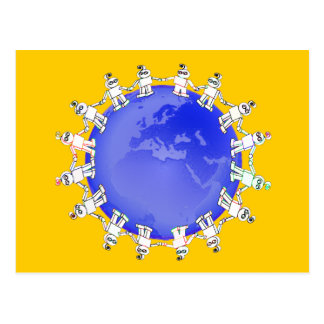 Cute Robots Holding Hands Around Earth Postcard