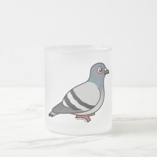 Cute Rock Pigeon Frosted Glass Coffee Mug