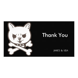 Cute Rocker Puppy Skull Photo Card