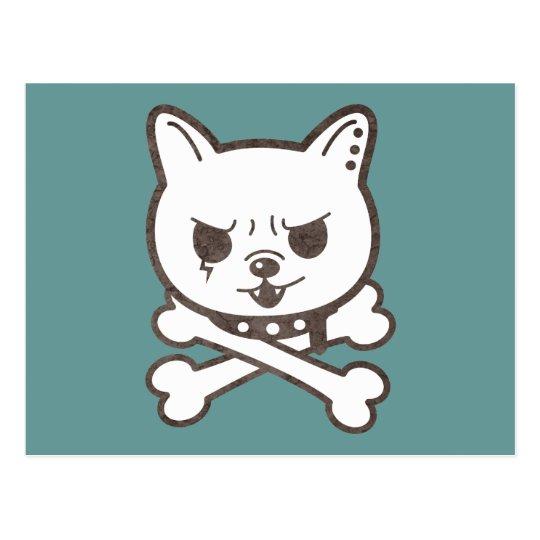 Cute Rocker Puppy Skull Postcard