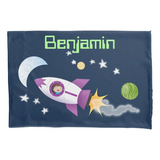 Cute rocket ship in space cartoon illustration pillow case