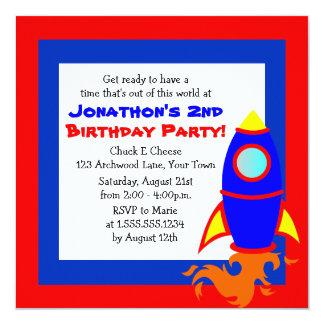 "Cute Rocket / Space Theme Kids Birthday 5.25"" Square Invitation Card"