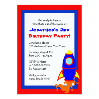 Cute Rocket / Space Theme Kids Birthday Red Blue 4.5x6.25 Paper Invitation Card