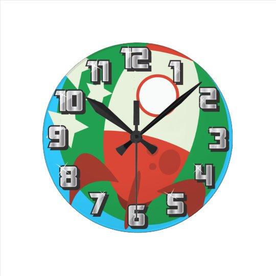 Cute rockets round clock