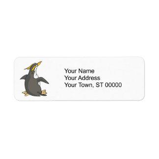 cute rockhopper penguin label