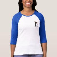 Rockhopper Penguin Ladies Raglan Fitted T-Shirt