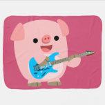 Cute Rockin' Cartoon Pig Baby Blanket