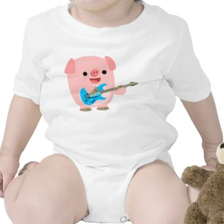 Cute Rockin' Cartoon Pig Baby Clothing shirt