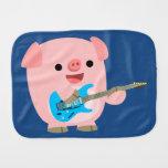 Cute Rockin' Cartoon Pig Burp Cloth