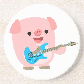 Cute Rockin' Cartoon  Pig Coaster