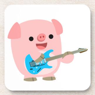 Cute Rockin' Cartoon  Pig Coasters Set