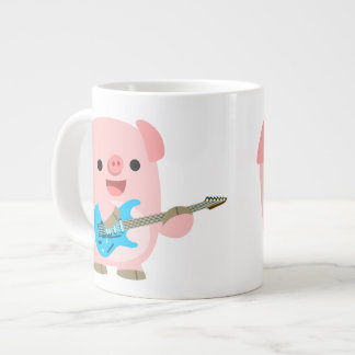 Cute Rockin' Cartoon  Pig Jumbo Mug