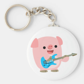 Cute Rockin' Cartoon  Pig Keychain