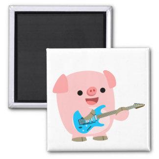 Cute Rockin' Cartoon  Pig Magnet