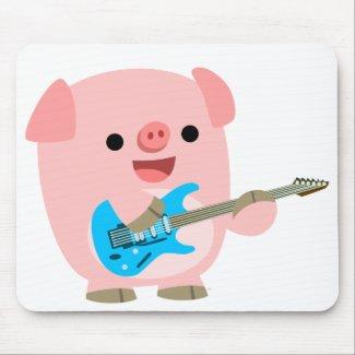 Cute Rockin' Cartoon Pig Mousepad mousepad