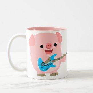 Cute Rockin' Cartoon Pig Mug mug