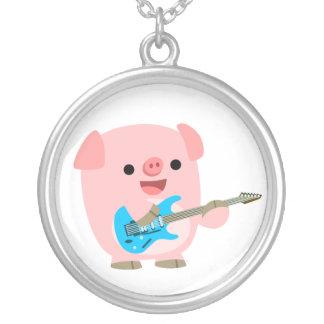 Cute Rockin' Cartoon  Pig Necklace