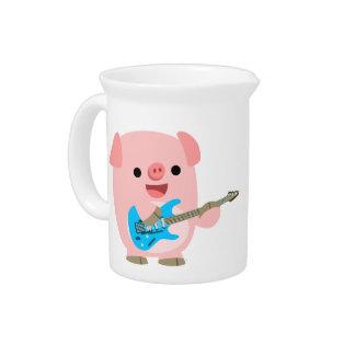 Cute Rockin' Cartoon Pig Pitcher