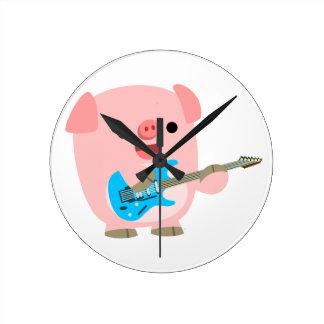 Cute Rockin' Cartoon  Pig Wall Clock