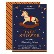 Cute Rocking Horse Baby Shower Invitation