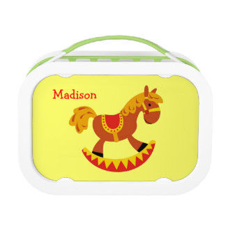 Cute Rocking Horse Kids Girl Boy Personalized Name Yubo Lunchboxes