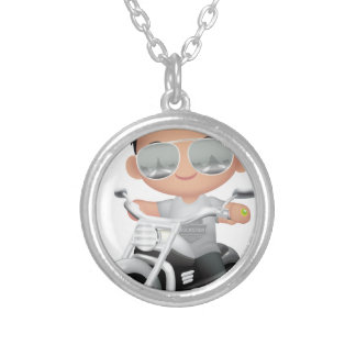 Cute RockStar on Motorcycle Silver Plated Necklace