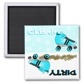 Cute Roller Skate Blue Clean Dirty Dishwasher 2 Inch Square Magnet