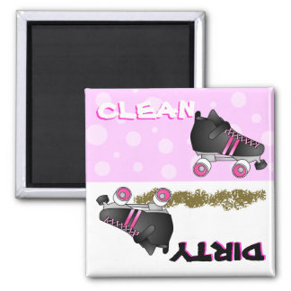 Cute Roller Skate Pink Clean Dirty Dishwasher 2 Inch Square Magnet