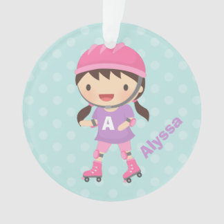 Cute Roller Skater Girl in Pink and Purple Ornament