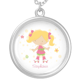 Cute roller skater girl personalized necklace