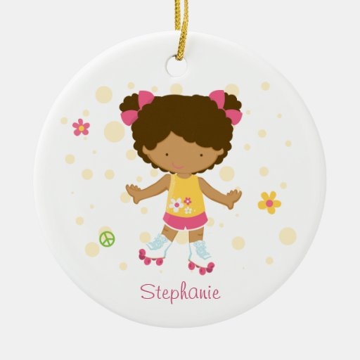 Cute roller skater girl personalized ornament