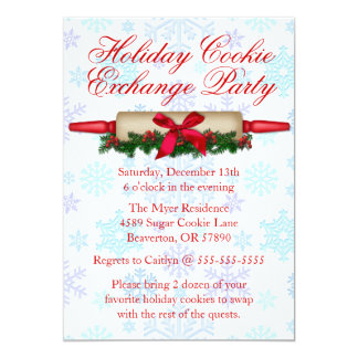 Cute Rolling Pin Cookie Exchange Holiday Invite