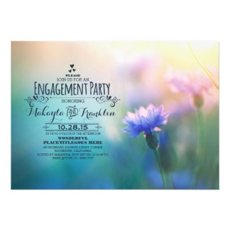 cute romantic blue flowers engagement party invite