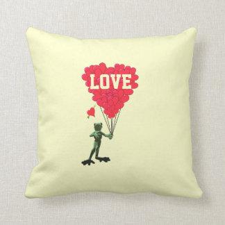Cute romantic cartoon frog valentines love heart pillows