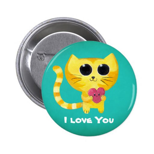 Cute Romantic Cat with Heart 2 Inch Round Button