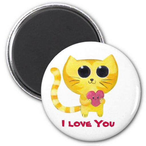 Cute Romantic Cat with Heart 2 Inch Round Magnet