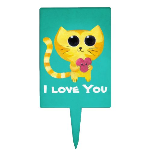 Cute Romantic Cat with Heart Cake Toppers