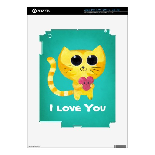Cute Romantic Cat with Heart Decal For iPad 3