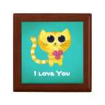Cute Romantic Cat with Heart Keepsake Boxes