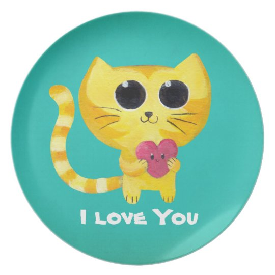 Cute Romantic Cat with Heart Plate