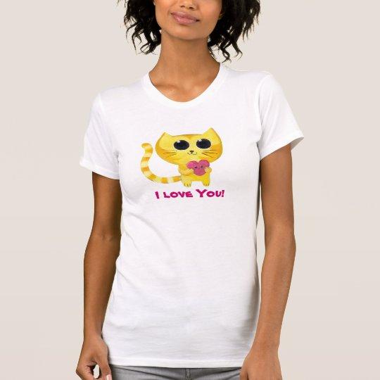 Cute Romantic Cat with Heart T-Shirt