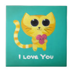 Cute Romantic Cat with Heart Tiles