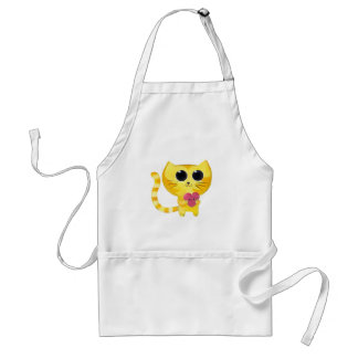 Cute Romantic Cat with Smiling Heart Adult Apron