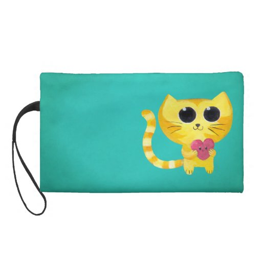 Cute Romantic Cat with Smiling Heart Wristlet Purse