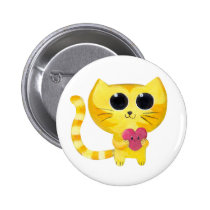 cat, kitty, love, romance, valentine's day, cute cat, love cat, romantic cat, kawaii cat, kitten, cat and heart, heart, romantic kitten, love kitten, cute kitten, romantic gift, Button with custom graphic design