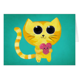 Cute Romantic Cat with Smiling Heart Greeting Cards