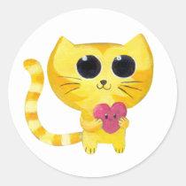 artsprojekt, cat, love, romance, valentine's day, romantic cat, kawaii cat, heart, pet, kawaii, kawaii animal, cute animal, valentines day gift, love gift, cute, cute pet, cat gift, cat present, kawaii gift, kawaii present, kids, kid, illustration, children, nursery, children illustration, Sticker with custom graphic design