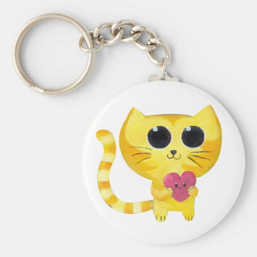 Cute Romantic Cat with Smiling Heart Basic Round Button Keychain
