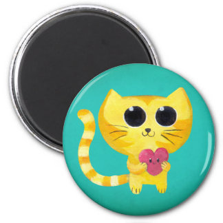 Cute Romantic Cat with Smiling Heart Magnet