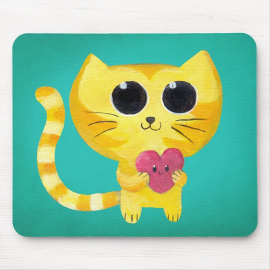 Cute Romantic Cat with Smiling Heart Mouse Pad